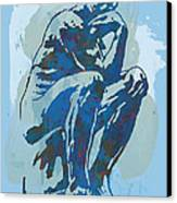 The Thinker - Rodin Stylized Pop Art Poster Canvas Print by Kim Wang