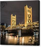The Tower Bridge In Sacramento California Canvas Print by Israel Marino