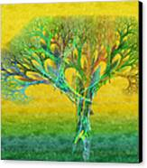 The Tree In Summer At Sunrise - Painterly - Abstract - Fractal Art Canvas Print