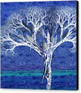 The Tree In Winter At Dusk - Painterly - Abstract - Fractal Art Canvas Print