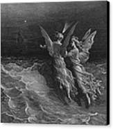 The Two Fellow Spirits Of The Spirit Of The South Pole Ask The Question Why The Ship Travels  Canvas Print by Gustave Dore