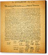 The United States Declaration Of Independence - Square Canvas Print