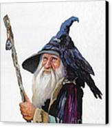The Wizard And The Raven Canvas Print by J W Baker