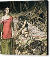 The Wooing Of Grimhilde The Mother Of Hagen From 'siegfried And The Twilight Of The Gods Canvas Print by Arthur Rackham
