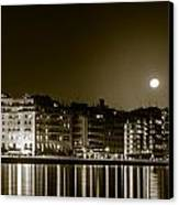 Thessaloniki At Night. Canvas Print by Slavica Koceva