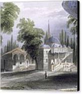 Third Court Of The Serai Bournou, C.1850 Canvas Print by William Henry Bartlett