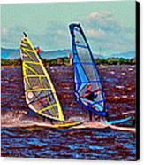 Three Amigo Windsurfers Canvas Print by Joseph Coulombe