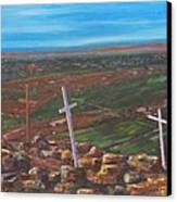 Three Crosses Of Tome Hill Canvas Print by Judy Lybrand