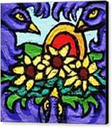 Three Crows And Sunflowers Canvas Print by Genevieve Esson