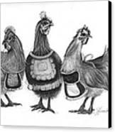 Three French Hens Canvas Print by J Ferwerda