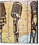 Three Microphones On Map Canvas Print by William Cauthern