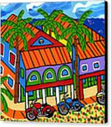 Three Motorcycles At Cedar Key Canvas Print by Mike Segal