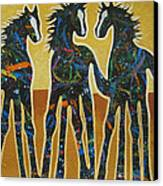 Three Ponies Canvas Print by Lance Headlee