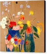 Three Vases Of Flowers Canvas Print by Odilon Redon