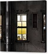 Three Windows And Pipe - The Story Behind The Windows Canvas Print by Gary Heller