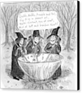 Three Witches Stir A Large Wok Canvas Print by Roz Chast