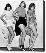 Three Women Lift Their Skirts Canvas Print by Underwood Archives