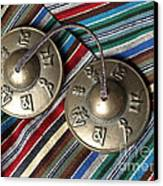 Tibetan Prayer Bells On Woven Scarf Canvas Print