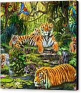 Tiger Family At The Pool Canvas Print