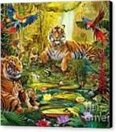 Tiger Family In The Jungle Canvas Print by Jan Patrik Krasny