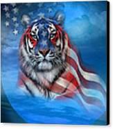 Tiger Flag Canvas Print by Carol Cavalaris