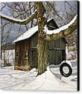 Tire Swing Shed Canvas Print by Timothy Flanigan