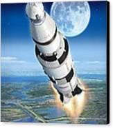 To The Moon Apollo 11 Canvas Print by Stu Shepherd