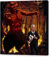 Tony Blair In Hell With Devil And Holding Weapons Of Mass Destruction Document Canvas Print by Martin Davey