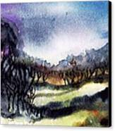 Towards The Misty Bogland  Canvas Print by Trudi Doyle