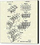 Toy Building Brick 1961 Patent Art Canvas Print