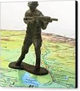 Toy Solider On Iraq Map Canvas Print by Amy Cicconi