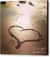 Tracks Of Love In The Sand Canvas Print
