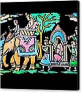 Traditional Indian Ancient Wedding Procession  Emboss Painting Canvas Print by Bhavana Menon