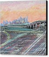 Train Coming At Sunset In West Oakland Canvas Print by Asha Carolyn Young