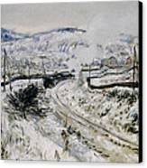 Train In The Snow At Argenteuil Canvas Print
