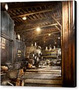 Train - Ready In The Roundhouse Canvas Print by Mike Savad