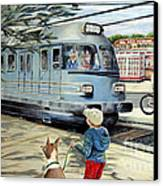 Train Stop At The Diner Canvas Print by Chris Dreher