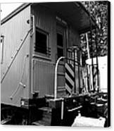 Train - The Caboose - Black And White Canvas Print by Paul Ward