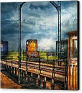 Train - Yard - On The Turntable Canvas Print by Mike Savad