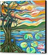 Tree And Lilies At Sunrise Canvas Print by Genevieve Esson