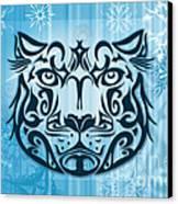 Tribal Tattoo Design Illustration Poster Of Snow Leopard Canvas Print by Sassan Filsoof