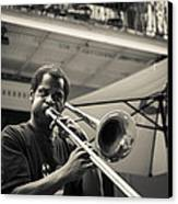 Trombone In New Orleans Canvas Print by David Morefield