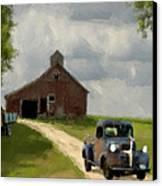 Trucks And Barn Canvas Print by Jack Zulli