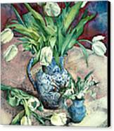 Tulips And Snowdrops Canvas Print by Julia Rowntree