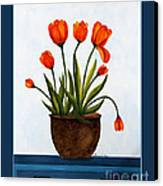 Tulips On A Blue Buffet With Borders Canvas Print by Barbara Griffin