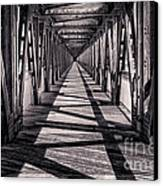 Tulsa Pedestrian Bridge In Black And White Canvas Print by Tamyra Ayles