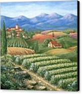 Tuscan Vineyard And Village  Canvas Print by Marilyn Dunlap
