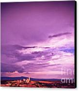 Tuscania Village With Approaching Storm  Italy Canvas Print