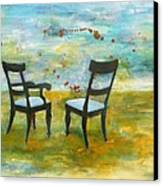 Twilight - Chairs Canvas Print by Deborah Allison