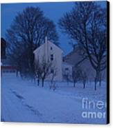 Twilight Snow On Bauman Road Canvas Print by Anna Lisa Yoder